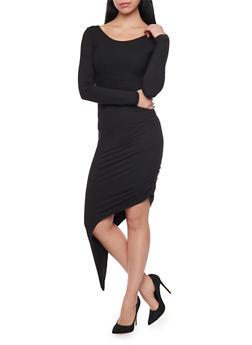 Long Sleeve Asymmetrical Bodycon Dress with Back Cutout - BLACK - 1094058750209