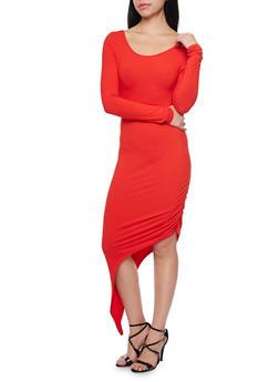 Long Sleeve Asymmetrical Bodycon Dress with Back Cutout - 1094058750209