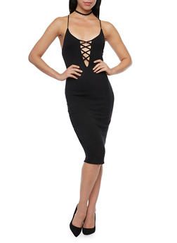 Bodycon Dress with Caged Front - BLACK - 1094058750849