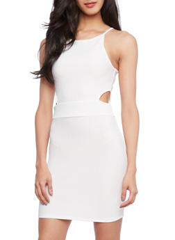 Textured Knit Dress with Cutout Sides - 1094058750941