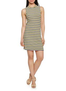 Sleeveless Striped Mock Neck Shift Dress - 1094058751311