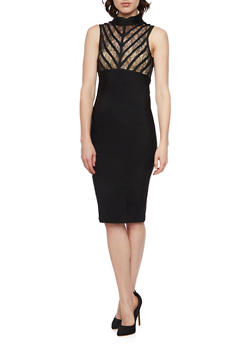 Sleeveless Dress with Lace Paneling and Mock Neck - BLACK/BLACK - 1094058751457