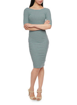 Striped Short Sleeve Bodycon Dress with Open Back - 1094058751502