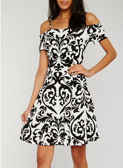 Off the Shoulder Printed Skater Dress - 1094058751532