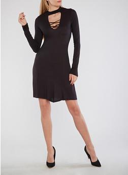 Lace Up Keyhole Skater Dress - BLACK - 1094058751842