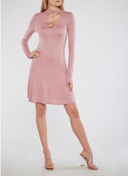 Lace Up Keyhole Skater Dress - 1094058751842