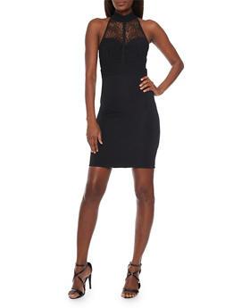 Sleeveless Lace Halter Top Neck Bodycon Dress - BLACK - 1094058751933