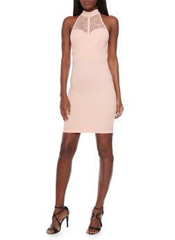 Sleeveless Lace Halter Top Neck Bodycon Dress - 1094058751933