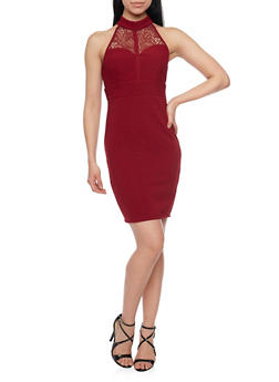 Sleeveless Lace Halter Top Neck Bodycon Dress - BURGUNDY - 1094058751933
