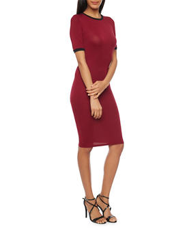 Mid Length Ringer T Shirt Dress - BURGUNDY/BLACK - 1094058751981