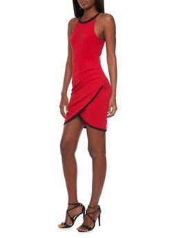Mini Halter Neck Bodycon Dress with Tulip Hem - 1094058751983