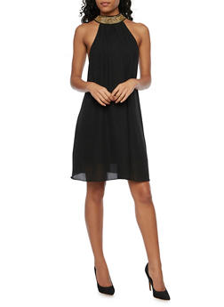 Chiffon Dress with Chain Neck - BLACK - 1094058751985