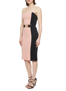 Strapless Textured Knit Color Block Bodycon Dress with Metal Bar Waist Belt - 1094058751998