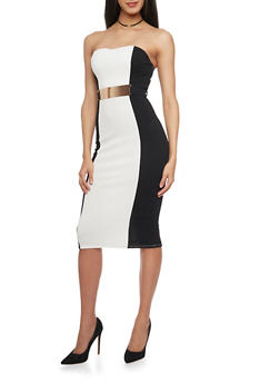 Strapless Textured Knit Color Block Bodycon Dress with Metal Bar Waist Belt - BLACK/WHITE - 1094058751998