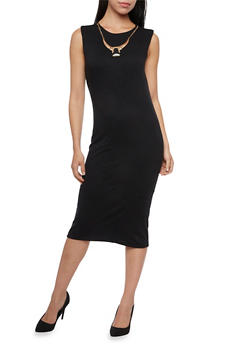 Sleeveless Dress in Bodycon Fit and Removable Necklace - BLACK - 1094058751999