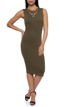 Sleeveless Sheath Dress with Removable Necklace - 1094058751999