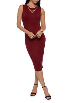 Sleeveless Dress in Bodycon Fit and Removable Necklace - 1094058751999