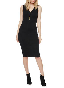 Sleeveless Zip Neck Bodycon Dress - BLACK - 1094058752025