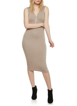 Sleeveless Zip Neck Bodycon Dress - 1094058752025
