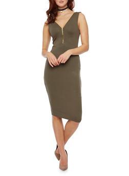 Sleeveless Zip Neck Bodycon Dress - OLIVE - 1094058752025