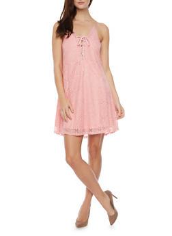 Lace Knit Skater Dress Racerback Dress - BLUSH/BLUSH - 1094058752036