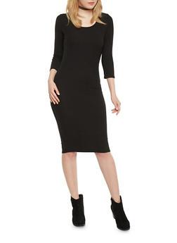 Ribbed Knit Scoop Neck Bodycon Dress - BLACK - 1094058752130