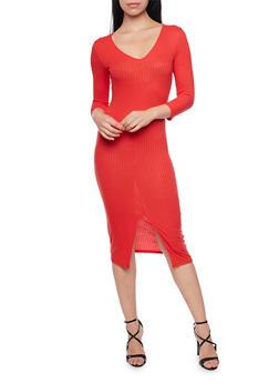 Rib Knit V Neck Bodycon Dress with Front Slit - 1094058752131