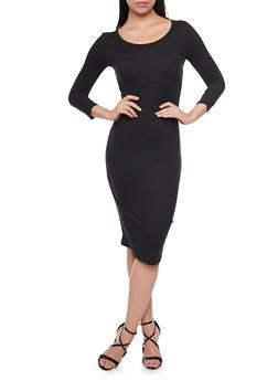 Mid Length Scoop Neck Bodycon Dress - BLACK - 1094058752132