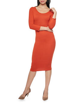 Mid Length Scoop Neck Bodycon Dress - 1094058752132