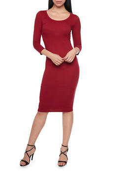 Mid Length Scoop Neck Bodycon Dress - BURGUNDY - 1094058752132