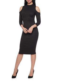 Soft Knit Cold Shoulder Midi Dress - BLACK - 1094058752133