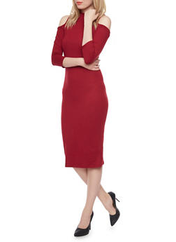Soft Knit Cold Shoulder Midi Dress - BURGUNDY - 1094058752133