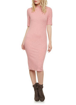 Ribbed Bodycon Dress with Mock Neck - BLUSH - 1094058752134
