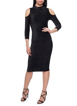Corduroy Cold Shoulder Midi Dress - BLACK - 1094058752135