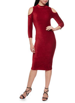 Corduroy Cold Shoulder Midi Dress - 1094058752135