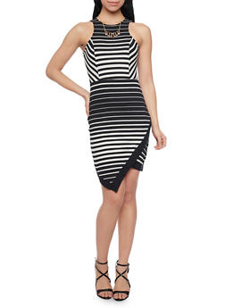 Sleeveless Striped Dress with Asymmetrical Hem and Necklace - 1094058752137