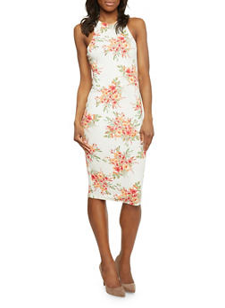Mid Length Sleeveless Floral Bodycon Dress - 1094058752138