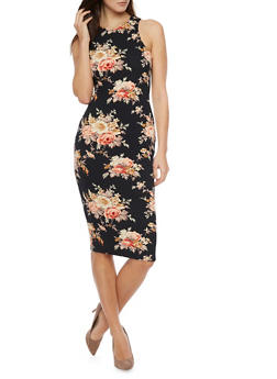 Floral Sleeveless Raceback Mid Length Dress - 1094058752139