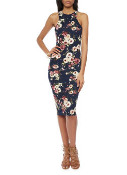 Sleeveless Floral Racerback Midi Dress - 1094058752141