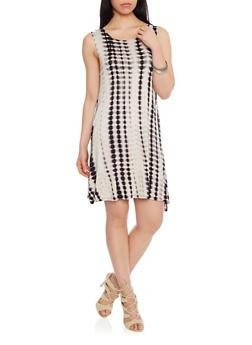 A Line Sleeveless Tie Dye Dress - 1094058752235