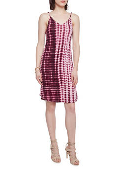 Mid Length Tie Dye V Neck Slip Dress - 1094058752240