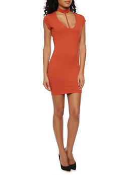 Short Bodycon Dress with Choker Neck - 1094058752244