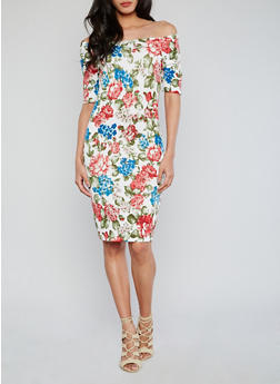 Off the Shoulder Floral Bodycon Dress - 1094058752254