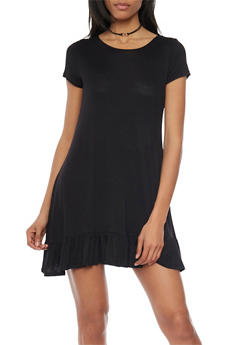 Short Sleeve Flutter Hem Shift Dress - BLACK - 1094058752263