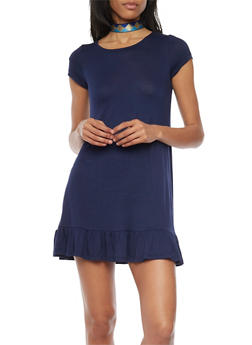 Short Sleeve Flutter Hem Shift Dress - 1094058752263