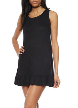 Sleeveless Shift Dress with Ruffle Hem - BLACK - 1094058752264