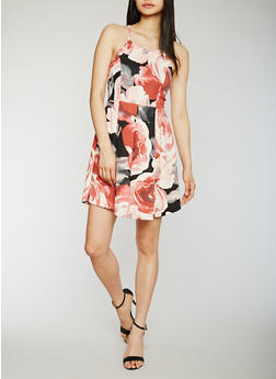 Sleeveless Floral Pleated Skater Dress - 1094058752273