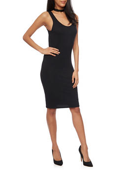 Sleeveless Mid Length Bodycon Tank Dress - BLACK - 1094058752281