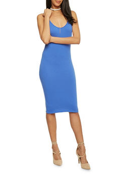 Sleeveless Mid Length Bodycon Tank Dress - 1094058752281