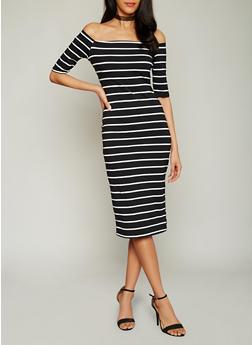 Stripe Off The Shoulder Midi Dress - 1094058752283